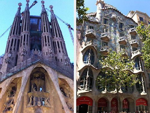 Der Architekt hat den Modernisme entscheidend geprägt. Links sein wohl bekanntestes Bauwerk: Die Sagrada Familia. Rechts: Die Casa Batllo am Passeig de Graàcia. (Fotos: Sören Peters)