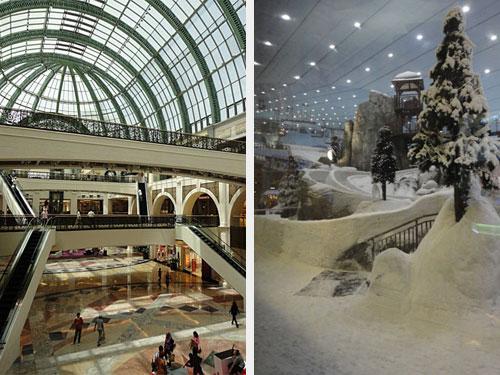 Wir folgend der Sheikh Zayed Road ein Stück weiter Richtung Süden: Die Mall of the Emirates hat in Sachen Shopping in etwa das gleiche zu bieten wie die Dubai Mall, allerdings kann man hier Ski fahren. Die Temperatur der Halle wird auf -3 Grad Celsius heruntergekühlt. (Fotos: Sören Peters)