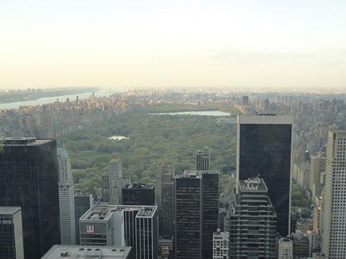 """Letzteres bietet einen fantastischen Ausblick auf die Stadt. Hier der Blick auf den Central Park vom """"Top of the Rock"""". (Foto: Sören Peters)"""