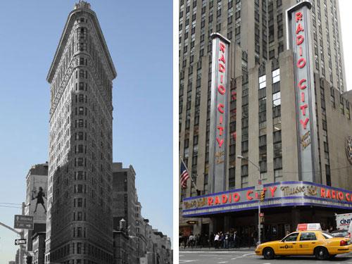 Neuer Tag, neuer Blick: Rechts die Radio City Music Hall, die ebenfalls zum Komplex des Rockefeller Centers gehört. Links das weltberühmte Flatiron Building, wo sich 5th Avebue und Broadway treffen. (Foto: Sören Peters)