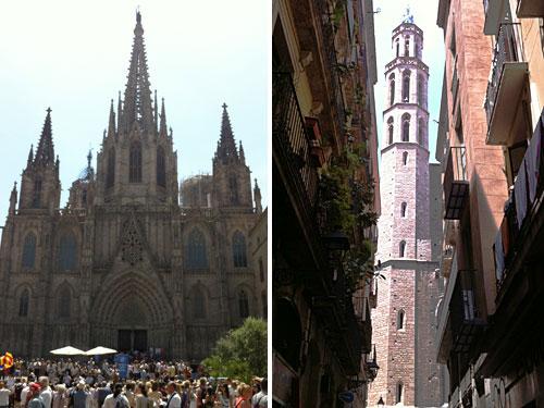 Hier befindet sich auch die Kathedrale Barcelonas, La Seu (links). Etwas weiter, in Viertel El Born, steht die Kirche von Santa Maria del Mar. (Foto: Sören Peters)