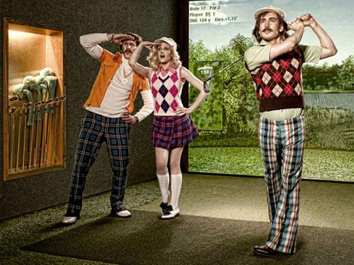 Das Outfit passt schonmal: Beim Urban Golf können sich Amateure und Profis am Simulator versuchen. (Foto: PR/Urban Golf)