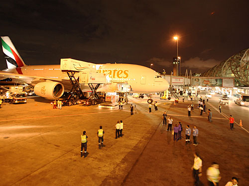 Abfertigung eines A380. (Foto: Emirates)