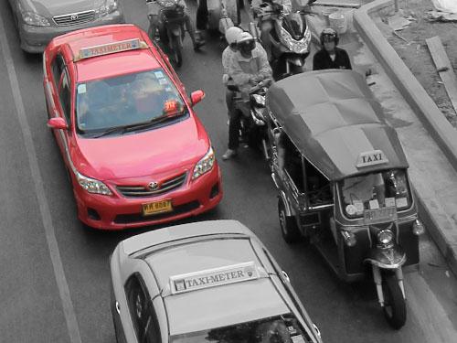 Taxi in Bangkok. (Foto und Bearbeitung: spe)