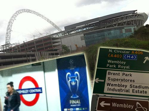 Im Wembley-Stadion findet am 25. Mai das Champions-League-Finale zwischen Borussia Dortmund und Bayern München statt. (Montage: spe)