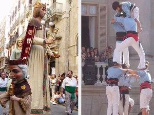 Gehören zum katalanischen Fest dazu wie ein Becher Estrella Damm: Gegants (l.) und Castellers. (Foto: spe)
