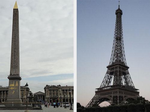 Place de la Concorde (l.) und der Eiffelturm. (Foto: spe)