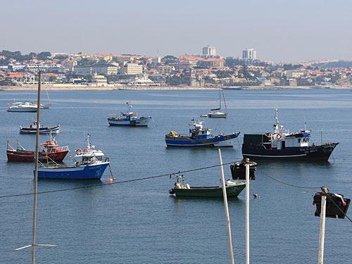 Fischerboote vor Cascais. Im Hintergrund zeichnet sich Estoril ab. (Foto: spe)