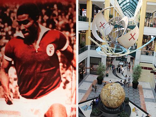 Links: Die Bilder der großen Benfica-Spieler aus der Vergangenheit zieren den Kabinengang. Hier_ Eusébio. Rechts: Gleich neben dem Stadion befindet sich das Colombo-Einkaufszentrum, das auch über einen umfangreichen Food-Court verfügt. (Fotos: spe)
