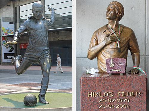 Helden unter sich - Links: Statue des großen Eusébio vor dem Estádio da Luz. Rechts: Abbild von Miklós Fehér. Der Ungar verstarb 2004 nach einem Herzstillstand während eines Spiels in Guimarães. (Fotos: spe)