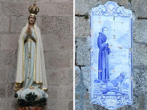 Die Nationalheilige Fatima in der Kathedrale und Mönchskachel im Stadtkern. (Foto: spe)