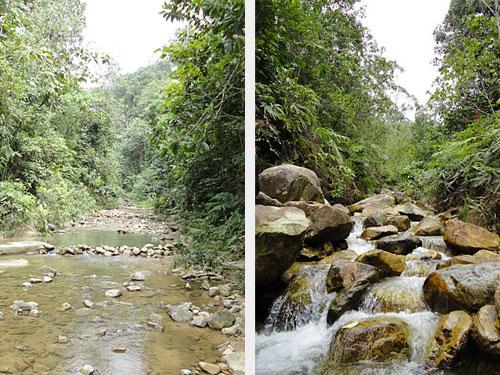 Flusslauf und kleiner Wasserfall. (Fotos: Sören Peters)