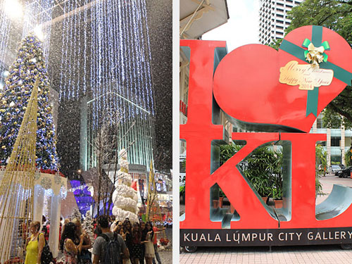 """Links noch einmal der Kunstschnee vor dem Pavilion. Rechts: """"KL"""" ist auf Weihnachten getrimmt. (Fotos: Sören Peters)"""