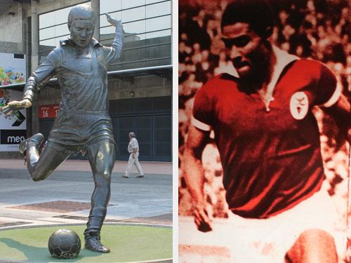 Portugal trauert um Eusebio. Der Fußballer war Vorbild einer ganzen Generation. Links: Statue vor dem Stadion von Benfica Lissabon. Rechts: Bild im Kabinengang. (Fotos: Sören Peters)