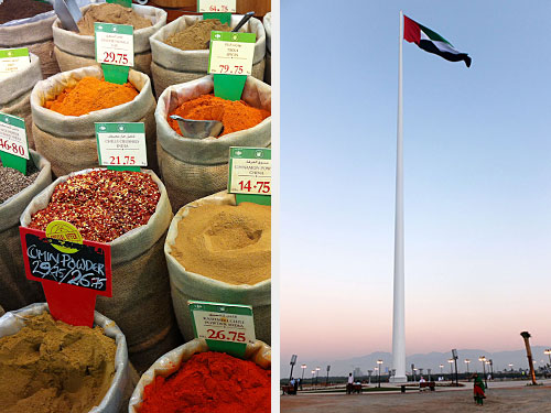 "Links: Gewürze im Carrefour-Supermarkt in der Manar-Mall. Rechts: Die Flagge der Vereinigten Arabischen Emirate ist in RAK omnipräsent. (Fotos: Sören Peters / <a href=""http://www.flickr.com/photos/gordontour/11176035114/"">gordontour</a> via <a href=""http://photopin.com"">photopin</a> <a href=""http://creativecommons.org/licenses/by-nc-nd/2.0/"">cc</a>)"