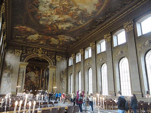 Sehenswert im Royal Naval College ist der ehemalige Essenssaal, die Painted Hall. (Foto: Sören Peters)