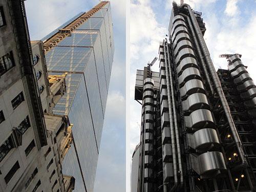 """In unmittelbarer Nachbarschaft ragen die """"Käsereibe"""" (l.) und das Lloyd's Building in den Himmel. (Fotos: Sören Peters)"""
