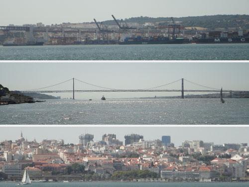 Von oben nach unten: Die Dockanlagen, die Brücke des 25. April und das Geschäftsviertel Lissabons. (Fotos: Sören Peters)
