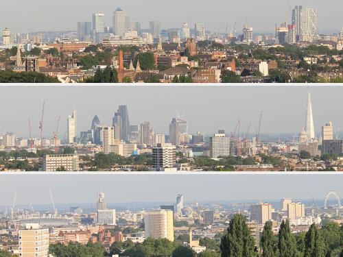 Londoner Stadtpanorama, von oben nach unten: Docklands, City, Westminster. (Foto: Sören Peters)