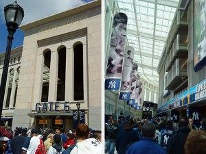 Links: Vor dem Yankee-Stadion. Rechts: Innen wird an die Helden der Vergangenheit erinnert. (Fotos: Sören Peters)