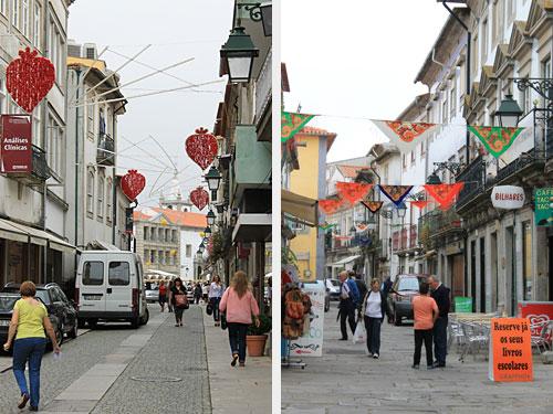 Unten waren noch die Straßen vom vorherigen Stadtfest dekoriert. Links zu sehen: Das stilisierte Herz (oder Erdbeere?), das inoffizielle Wappen von Viana do Castelo. (Fotos: Sören Peters)