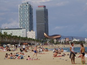 An der Platja de Barceloneta, Höhe Hospital de Mar. (Foto: Sören Peters)