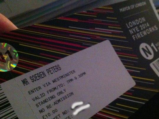 Eintrittskarte für das Silvester-Feuerwerk in London.