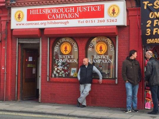 """Büro"" der Hillsborough Justice Campaign. (Foto: Sören Peters)"