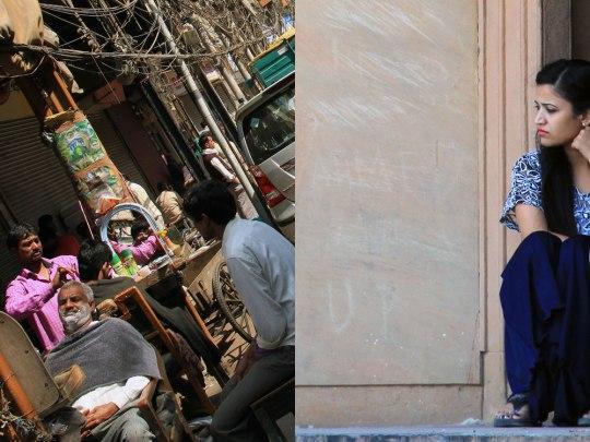 Links: Ein Barbier auf dem Gehsteig, unweit der Jama Masjid. Rechts: Heimliches Date. Am Safdarjung-Mausoleum treffen sich viele junge Paare, fern von den Blicken der Familie. (Foto: Sören Peters)
